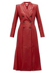 Alexander Mcqueen Double Breasted Fluted Hem Leather Coat Dark Red