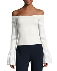 Alexis Gryffin Off The Shoulder Bell Sleeve Knit Top White