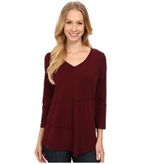 Mod O Doc Classic Jersey Seamed V Neck Pullover Burgundy Noir Women's T Shirt Brown