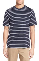 Men's Brooks Brothers Stripe Supima Cotton Crewneck T Shirt Navy