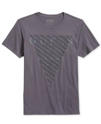 Guess Men's Cutout Graphic Print Logo T Shirt Gray