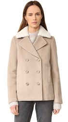 Alexander Wang Wool Peacoat With Shearling Collar Marble