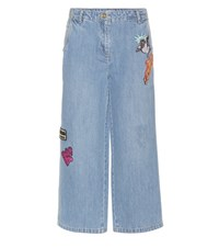 Kenzo Cropped Jeans With Applique Blue
