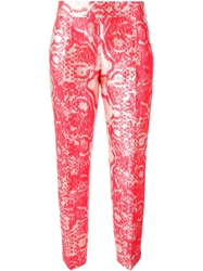 Giambattista Valli Snakeskin Print Cropped Trousers Red