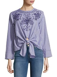 Saks Fifth Avenue Red Striped Floral Blouse Navy