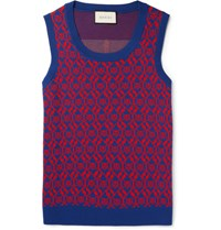 Gucci Jacquard Knit Wool And Cotton Blend Sweater Vest Navy