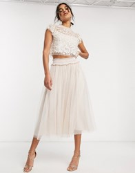 Needle And Thread Embellished Crop Top In Blush Cream Pink