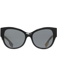 Burberry Vintage Check Detail Butterfly Frame Sunglasses Black