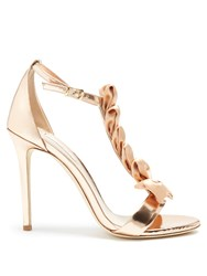 Olgana Paris La Delicate T Bar Leather Sandals Gold