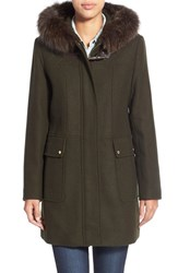 Women's Ellen Tracy Toggle Closure Hooded Duffle With Genuine Fox Fur Trim Olive