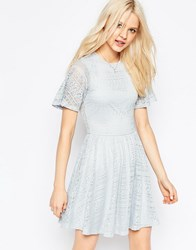 Asos Skater Dress With Lace Back And Keyhole Soft Gray