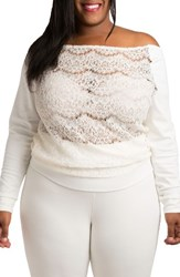 Poetic Justice Plus Size Women's Lace And Ponte Knit Top White