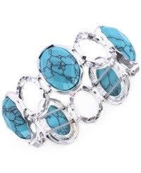 Jones New York Silver Tone Turquoise Stretch Bracelet