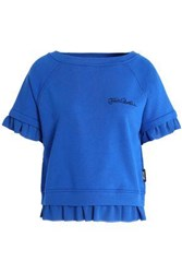 Just Cavalli Ruffled Chiffon Trimmed Cotton Blend Pajama Top Cobalt Blue