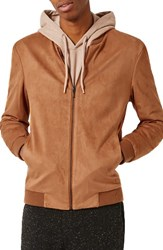 Topman Men's Faux Suede Bomber Jacket Brown