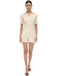 Gucci Short Belted Wool And Silk Cady Jumpsuit Ivory