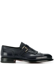 Santoni Buckle Strapped Loafers Blue