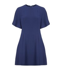 Sandro Yoko Fluted Crepe Dress Female Blue