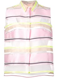 Delpozo Striped Organza Shirt White