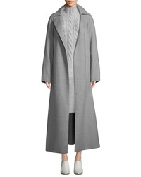 Lafayette 148 New York Kalena Wrap Cashmere Coat Nickel Melange