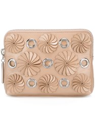 3.1 Phillip Lim Embellished Zip Clutch Nude Neutrals