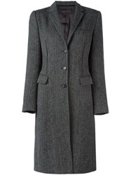 Dolce And Gabbana Vintage Herringbone Midi Coat Grey