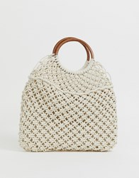 Melie Bianco Crochet Shopper With Ring Handles Stone