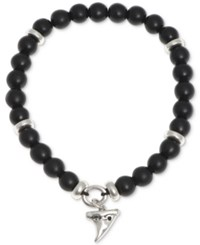 R.T. James Silver Tone Black Beaded Stretch Bracelet A Macy's Exclusive Style