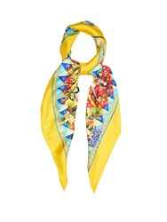 Dolce And Gabbana Carretto Print Silk Scarf Yellow Multi