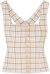 Nicholas Button Detailed Checked Tencel Blend Top Beige