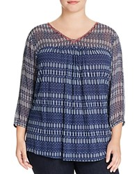 Lucky Brand Plus Embroidered Neck Ikat Mixed Media Blouse Blue Multi