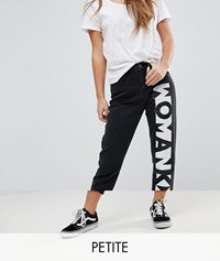 Noisy May Petite Mom Jeans With Slogan Black