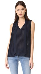 Frame Pleated Sleeveless Blouse Navy