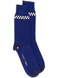Ymc Check Trim Knitted Socks Blue
