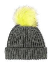 Topshop Tip Fur Pom Beanie Hat Yellow
