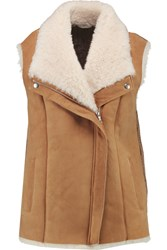 Joie Brinley Shearling And Textured Knit Vest Brown