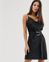 River Island Cowl Neck Cami Dress With Belt Detail In Black