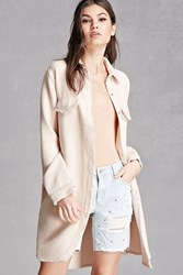 Forever 21 Raw Cut Fleece Button Up Coat Cream
