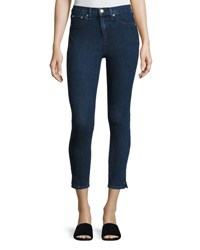 Rag And Bone 10 Inch Skinny Capri Jeans With Slit Clean Dark Paz Indigo