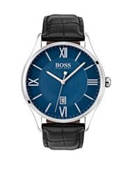 Hugo Boss Governor Stainless Steel Textured Leather Strap Watch Black