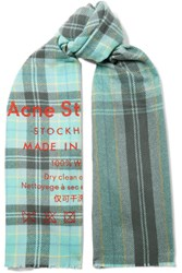 Acne Studios Cassiar Printed Checked Wool Scarf Turquoise