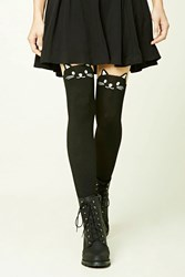 Forever 21 Cat Face Tights Nude Black