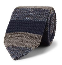 Missoni 6Cm Striped Knitted Wool And Silk Blend Tie Navy