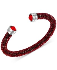 Swarovski Silver Tone Black Crystal And Crystaldust Open Cuff Bracelet Red