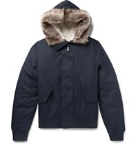 Yves Salomon Shearling Trimmed Cotton Blend Shell Hooded Jacket Navy