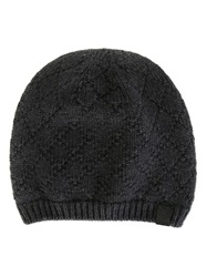 Giorgio Armani Diamond Pattern Beanie Hat Grey