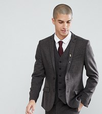 Heart And Dagger Skinny Suit Jacket In Weave Brown