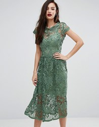 Body Frock Bodyfrock Lace Midi Skater Dress With Cap Sleeve Green
