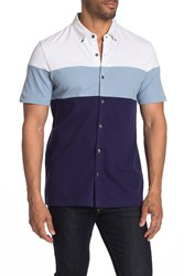 English Laundry Colorblock Button Front Polo Shirt Ash Blue