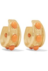 Kenneth Jay Lane Gold Plated Stone Hoop Earrings Coral